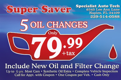 Auto Repair Shop Coupons - Naples, FL - Specialist Auto Tech
